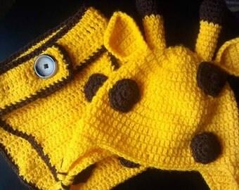 Crochet Baby Giraffe Hat & Diaper cover/photo prop/gift/hat set