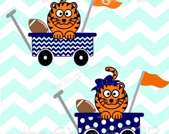 Tiger football wagon SVG and studio files for Cricut, Silhouette, Vinyl Cutters and Screen Printing