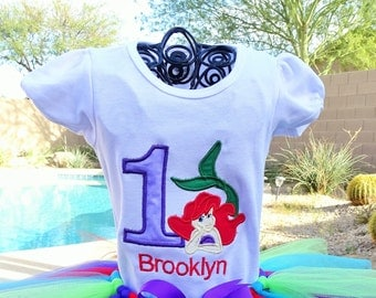 Personalized The Little Mermaid Birthday shirt only.