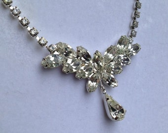 "18"" VINTAGE Necklace ~ Silver Plated & COVERED In Cubic Zirconia Crystal w/TEARDROP Accent.........Sparkling and Gorgeous!"
