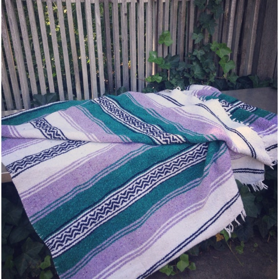 Mexican Beach Blanket: Vintage Tribal Mexican Blanket. Purple/green Black And White