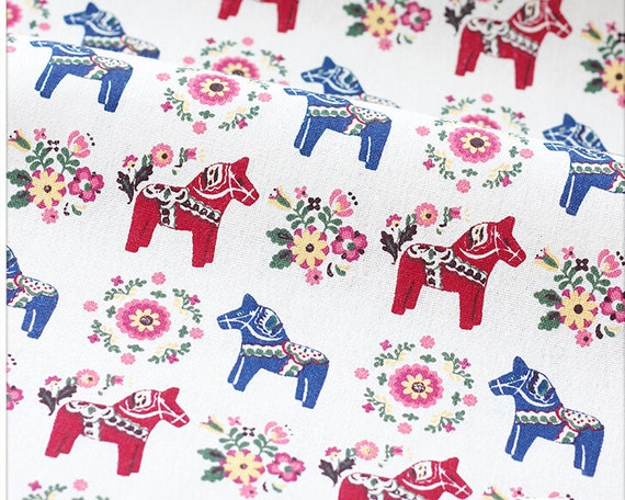 horse fabric cotton linen fabric colorful horses children