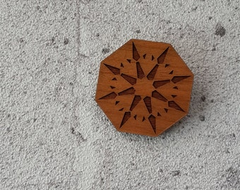 The Diamond - laser cut cherry wood brooch