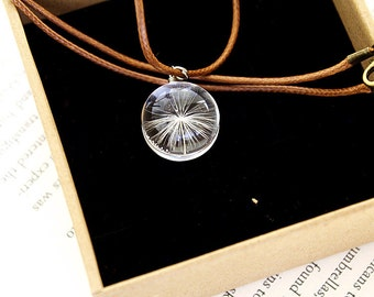 Dandelion Seed Resin Pendant Necklace Sphere - Pressed Flowers encased in Resin Orb, Handmade Jewelry