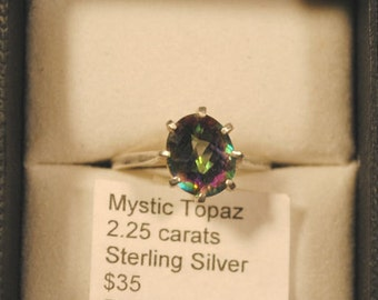 Mystic Topaz Faceted Oval Sterling Silver Ring