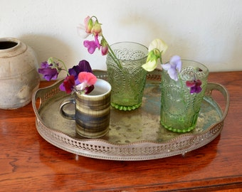 Shabby Chic Plated Silver and Copper Tray