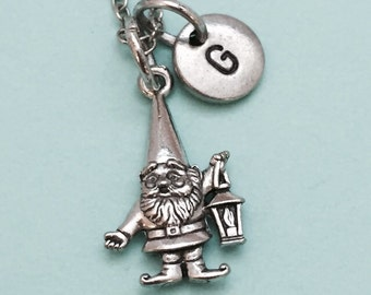 Gnome necklace, gnome charm, garden gnome, gnome with latern, personalized necklace, initial necklace, initial charm, monogram