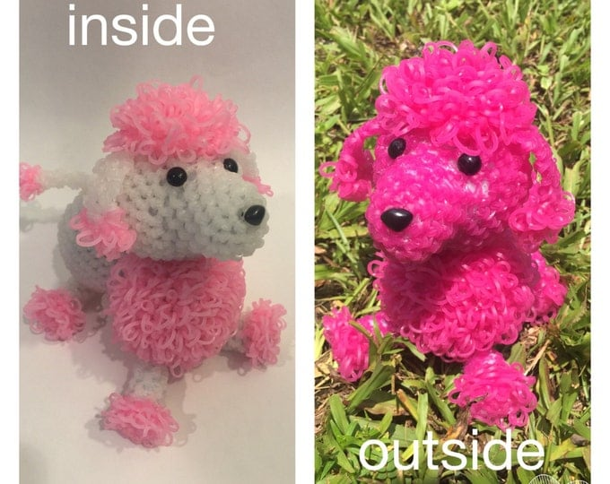 Color Changing Poodle Rubber Band Figure, Rainbow Loom Loomigurumi, Rainbow Loom Dog