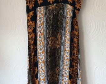 Vintage 70s/80s Batik print maxi dress, small