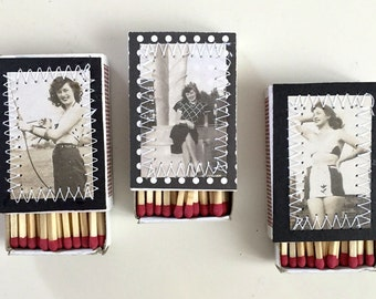 Pin Up Girl Matchbox Decorative Matches Mini Matchboxes Vintage 1940s Photograph Matches Wedding Favor Matches Archery