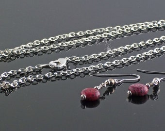 Long Silver Filigree Pendant Necklace and Earring Set