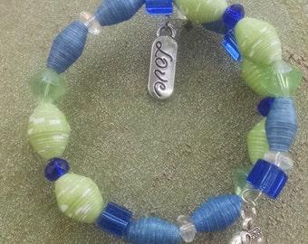 Blue and Green Bangle Wrap Bracelet (BW1)
