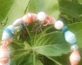 Orange and Teal Bangle Wrap Bracelet (BW6)
