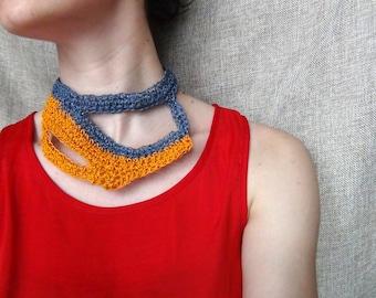 Crochet paper yarn, crochet necklace, paper yarn jewelry, statement necklace, grey orange necklace, grey paper yarn