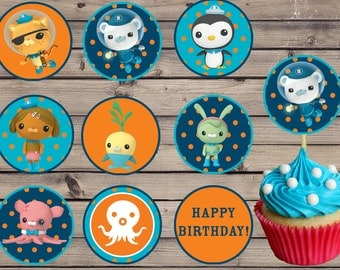 Octonauts Party Food Cupcake Toppers Label Instant Download
