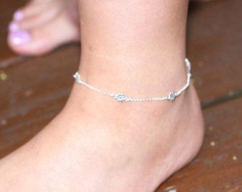 Sterling Silver Anklet, Silver Anklet, Silver Flower Anklet, Sterling Silver Flower Charm Anklet, Beach Jewelry