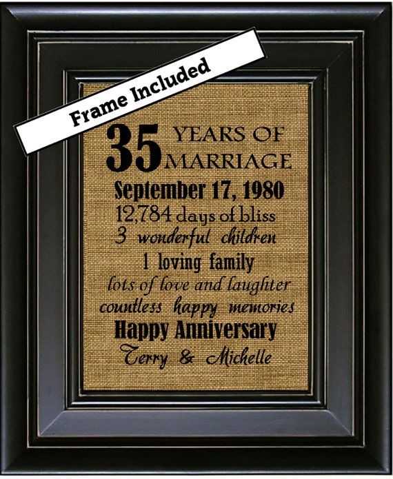 Wedding Gift 35 Years : ... Gifts 35th Wedding Anniversary Gifts 35 years of Marriage Burlap Wall