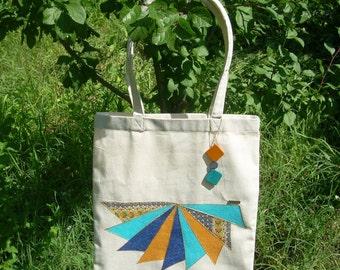 shopping bag, grocery bag, decoupage tote bag, farmers market bag, eco friendly bag, Market Tote, yoga bag, natural cotton tote, Book Bag