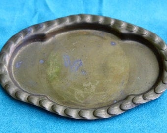 Vintage Antique Bronze Serving Tray, Altar Tray