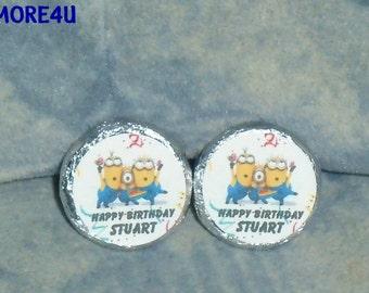 96 Personalized Minions Birthday Kiss candy/Mini bubbles labels@* Peel & Stick