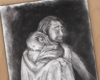 Hand Drawn Charcoal Drawing of Jesus Comforting Woman - 14x17