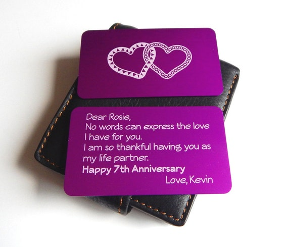 7th Wedding Anniversary Gift to my Wife,Wallet Insert,Gift from ...