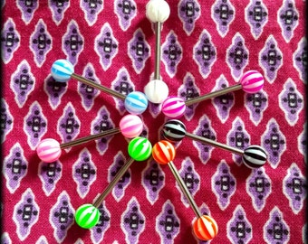 14g Candy Stripe Barbells! (Choose color) - Tongue Rings - Body Jewerly