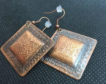Copper earrings, handmade earrings, artisan earrings, hammered earrings, antique earrings