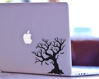 Halloween Dead Tree With Bats Decal for Macbook and Laptop