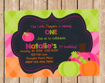 Girls Pumpkin Birthday Invitation