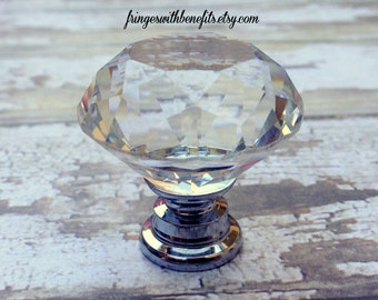 10pk CRYSTAL KNOB - Glass Drawer Pull, Diamond Dresser Pull, Vintage Cabinet Hardware, Antique Knob, Princess Drawer Pull, Shabby Chic