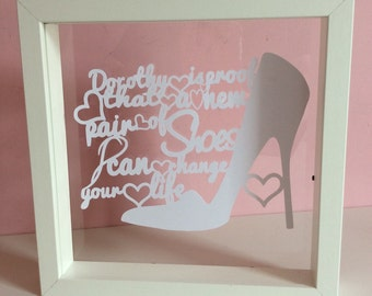 Dorothy new shoes papercut floating frame