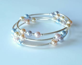 Swarovski Pearl Sterling Silver Bangle (Pastel on Memory Wire)