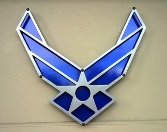 "USAF - Air Force - Powdercoated Steel Sign / Wall Art - 12"" x 11"""