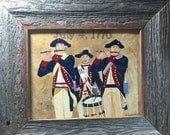SALE July 4th theme. Folk art style scene American Revolution Fife and Drum Corps 8X10 original canvas framed