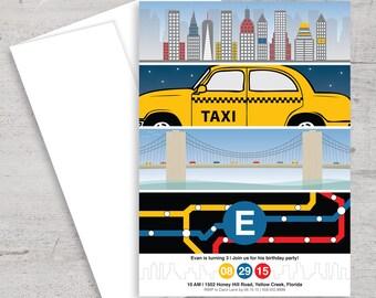 NYC, New York City, Party, Birthday Invitation, Invite, Subway, NYC Skyline, New York City Skyline, Brooklyn Bridge, Taxi, Cab, Big Apple
