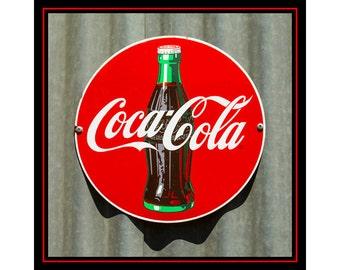 Old Coke Sign Photo, Coca-Cola Sign, Retro Coke Sign,  Old Coca-Cola Sign, Vintage Coke Sign, Home Decor, Wall Art, Bar Decor, Kitchen Decor