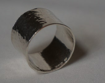 Wide sterling silver hammered ring
