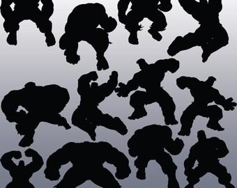 12 Hulk Silhouette Clipart Images, Clipart Design Elements, Instant Download, Black Silhouette Clip art