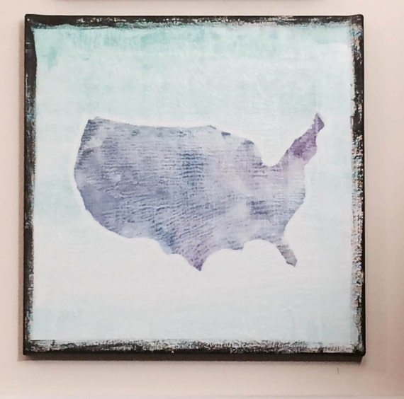 United States of America - Textured Watercolor on Canvas - USA