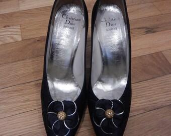 20% OFF! Christian Dior Vintage Souliers 6.5 heels black satin