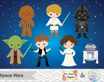 Instant Download Star Wars Digital Clip Art, Star Wars Clipart, Star Wars Party, Space Wars Clipart, Digital Star Wars Printable, 0178