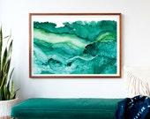 Undercurrent Emerald Ink: Framed Art Print, Ocean Art, Surf Watercolor, Abstract Watercolor, large art