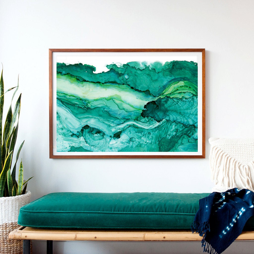 undercurrent emerald ink framed art print ocean art surf