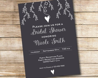 Black and White Chalkboard Bridal Shower Invitation - Bridal Shower Invite - Love - Branches - Flowers - Digital File - Printable Invitation