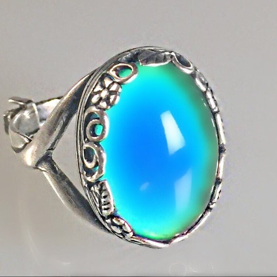 mood ring large oval silver plate floral 18x13mm colorful