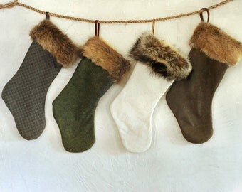 Fur Christmas Stockings - Holiday Decor - Christmas Socks