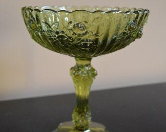 """Vintage green pedestal compote (7.5"""")"""