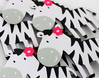 12 x Zebra Cupcake Toppers - birthday party, zoo, jungle, animal print, black white & pink,