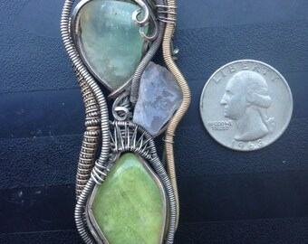 Three stone, handmade, sterling silver wire wrap